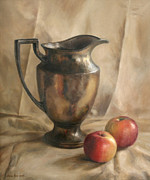 Pitcher Painting Framed Prints - Apples and Pitcher Framed Print by Anna Bain