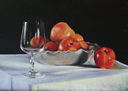 Award Winning Pastels Prints - Apples and Wineglass Print by Diane Breuer