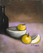 Fruit Still Life Pastels Framed Prints - Apples Bowl and Bottle Framed Print by L Cooper