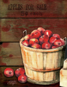 Baskets Digital Art Posters - Apples For Sale Poster by Arline Wagner