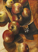Wooden Bowl Paintings - Apples by Francine Stuart
