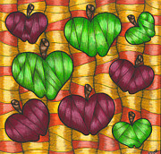 Food And Beverage Drawings Posters - Apples Poster by Hilda Tovar