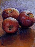 Fruit Still Life Pastels Framed Prints - Apples III Framed Print by Susan Jenkins