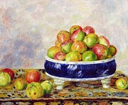Blue And Green Paintings - Apples in a Dish by  Pierre Auguste Renoir