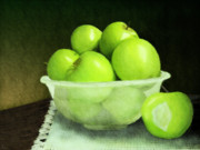 Food And Beverage Mixed Media Posters - Apples in a glass bowl Poster by Shakila Malavige