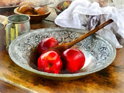 Wooden Spoons Framed Prints - Apples in a Silver Bowl Framed Print by Susan Savad