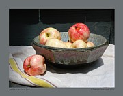 Aerni Posters - Apples in an Aerni Bowl Poster by Patricia Overmoyer