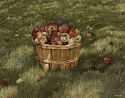 Arkansas Paintings - Apples in Basket by Mary Ann King