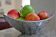 Green Apples Posters - Apples in Fruit Bowl Poster by Carol Groenen