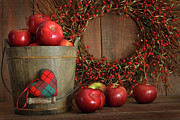 Basket Prints - Apples in wood bucket for holiday baking Print by Sandra Cunningham