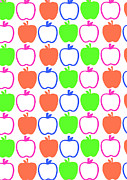 Patterns Digital Art - Apples by Louisa Knight