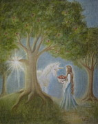 Unicorn Paintings - Apples of Avalon by Bernadette Wulf