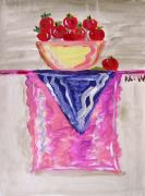 Apples Drawings Posters - Apples on Table with Colorful Scarf Poster by Mary Carol Williams