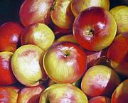 Contemporary Realism Pastels Posters - Apples Up On Top Poster by Ariel Freeman