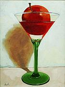 Food And Beverage Photo Originals - APPLETINI - apple still life painting by Linda Apple