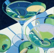 Wine Bottle Art Posters - Appletini Poster by Christopher Mize