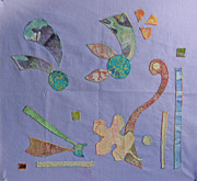 Blue Quilts Tapestries - Textiles Posters - Applique 3 Poster by Eileen Hale