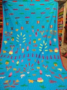 Flower Bed Tapestries - Textiles - Appliques Bed Throw by Dinesh Rathi