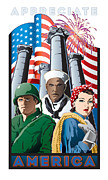 """war Poster"" Digital Art Framed Prints - Appreciate America Framed Print by Steven Schader"