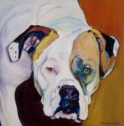 Acrylic Dog Paintings - Apprehension by Pat Saunders-White            
