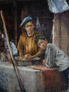 Afghanistan Paintings - Apprentice Cooks by Dali Higa