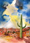 Sun Rays Painting Posters - Approaching Monsoon Poster by Sharon Mick