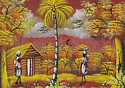 Haitian Painting Framed Prints - Approaching on the Path Framed Print by Herold Alvares