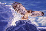 Storm Clouds Paintings - Approaching Storm - Redtailed Hawk by Craig Carlson