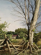 Fencing Paintings - Approaching Storm Fenelon Falls by Robert Hinves