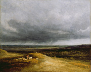 Pastoral Landscape Framed Prints - Approaching Storm Framed Print by Georges Michael