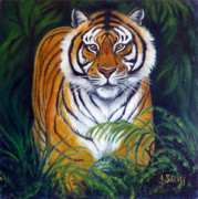 Bigcat Framed Prints - Approaching Tiger Framed Print by Janet Silkoff