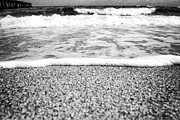 Beach Scenery Framed Prints - Approaching wave - black and white Framed Print by Hideaki Sakurai