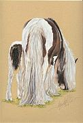 Equine Pastels Posters - April and Gracie Poster by Terry Kirkland Cook