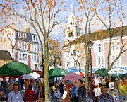 Impressionistic Market Painting Framed Prints - April in Paris Framed Print by Roelof Rossouw