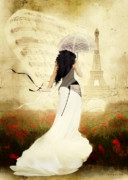 Paris Digital Art Posters - April in Paris Poster by Shanina Conway