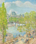 Banks Framed Prints - April on the Quai Voltaire in Paris Framed Print by Childe Hassam