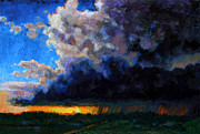 Clouds Sunset Painting Prints - April Showers Print by John Lautermilch