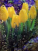 Yellow Tulips Posters - April Showers Poster by Linda Mishler