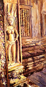 Travel Destination Painting Originals - Apsara Bas-Relief by Ryan Fox
