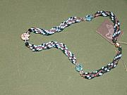 Music Jewelry - Aqua and green rope weave with fox pendant by Susan Anderson