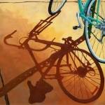 Bicycle Art Posters - Aqua Angle Poster by Linda Apple