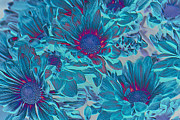 Blue Flowers Posters - Aqua Blue Beauties Poster by Aimelle