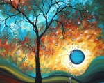 Surrealism Tapestries Textiles Prints - Aqua Burn by MADART Print by Megan Duncanson