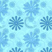 Aqua Fun Flowers And Swirls Print by Patricia S