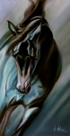 Horse Pastels Metal Prints - Aqua  Metal Print by Kim McElroy