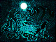 Mermaid Mixed Media - Aqua Mermaid in the Moonlight by Tisha McGee
