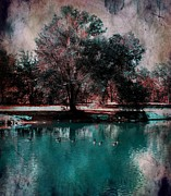 Bluish Green Framed Prints - Aqua Pond Framed Print by Michelle Frizzell-Thompson