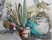 Outdoor Still Life Paintings - Aqua Pot by Carole Johnson
