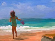 Little Girl Metal Prints - Aqua Seas Metal Print by Patti Siehien