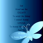 Aqua Serenity Prayer Butterfly Print by Patricia S